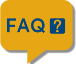 FAQ bubble with gold background and blue letters