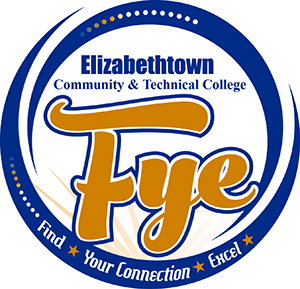 Logo of FYE blue circle with gold letters fye