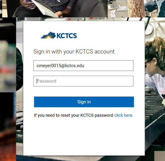 white box with kctcs log to sign in using your email address and password