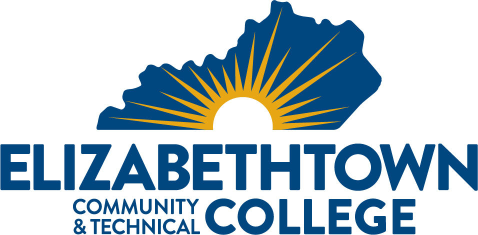 Image of Elizabethtown Community and Technical College with blue Kentucky shape and yellow sunburst in the middle of the state