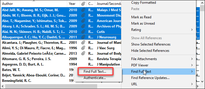 EndNote Find Full Text