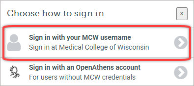 Sign in with your MCW Username