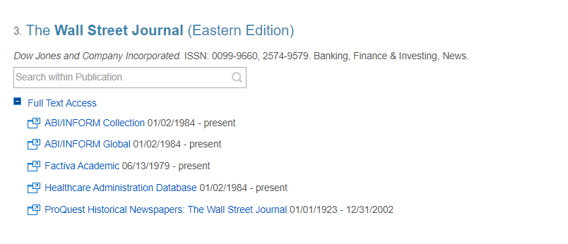 E-Journal Titles record for the Wall Street Journal (Eastern Edition)