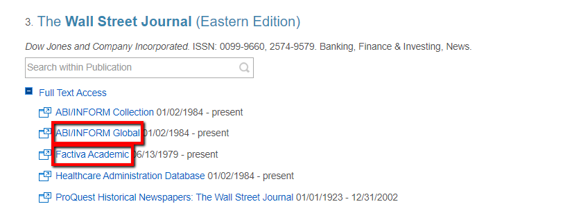"E-Journal Titles record for the Wall Street Journal (Eastern Edition) with the links for ""ABI/INFORM Global"" and ""Factiva Academic"" Highlighted."