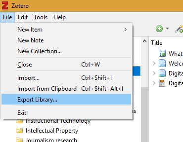 "Screenshot of ""Export Library"" menu option (under the File menu)"