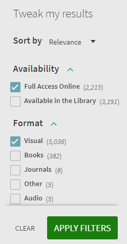 """Tweak my results"" catalog sidebar showing ""Full access online"" and ""visual"" format checked."