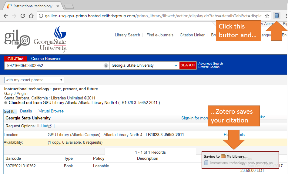 "Screenshot of Library catalog record, the Zotero icon that appears in the browser bar, and the ""Save to My Library"" message that appears in the lower right after you save a citation"