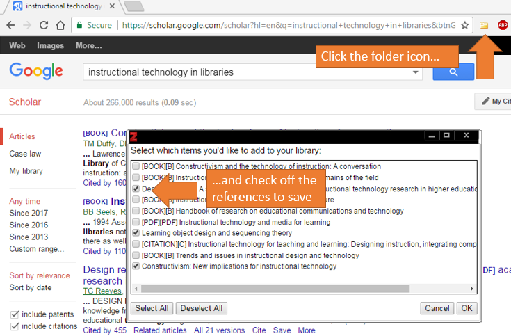 Screenshot of a Google Scholar results page, the Zotero folder icon (in browser bar), and the Zotero dialog box that lists the search results from which to select references
