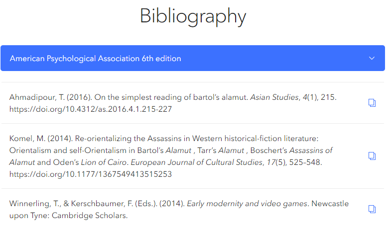 Screenshot of a short bibliography generated by ZoteroBib