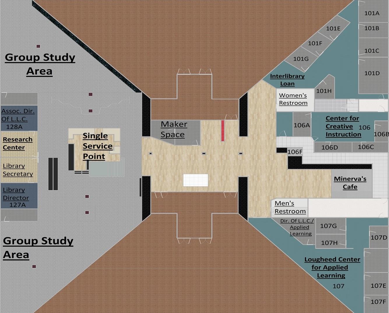 LLC/Crumb library 1st floor maps
