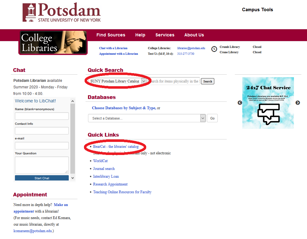 screenshot of library website home page with BearCat links circled