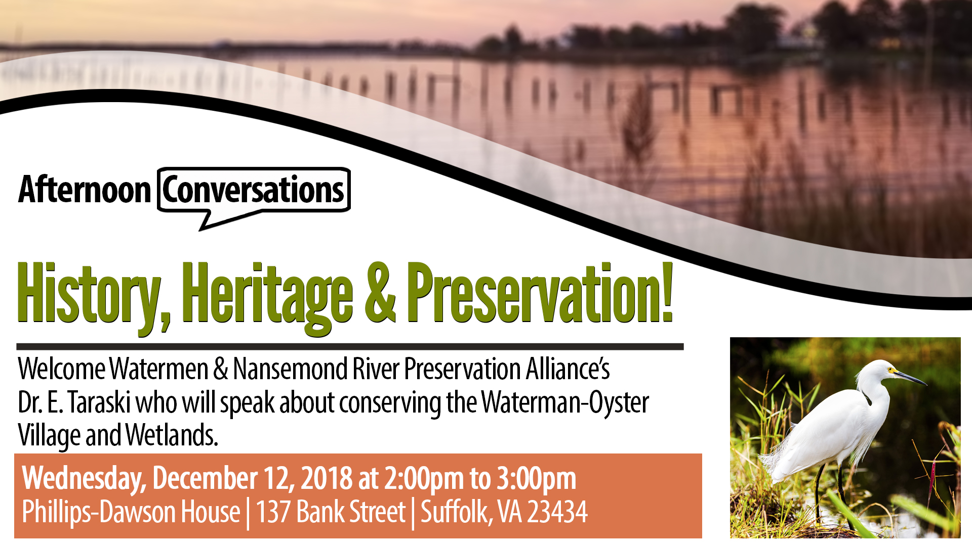 Afternoon Conversations: History, Heritage & Preservation!