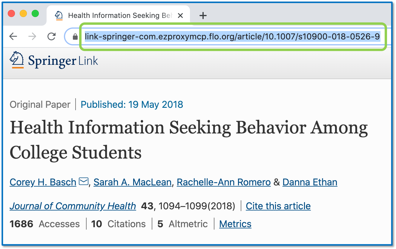 Persistent link to an article through an MCPHS subscription, using a DOI.