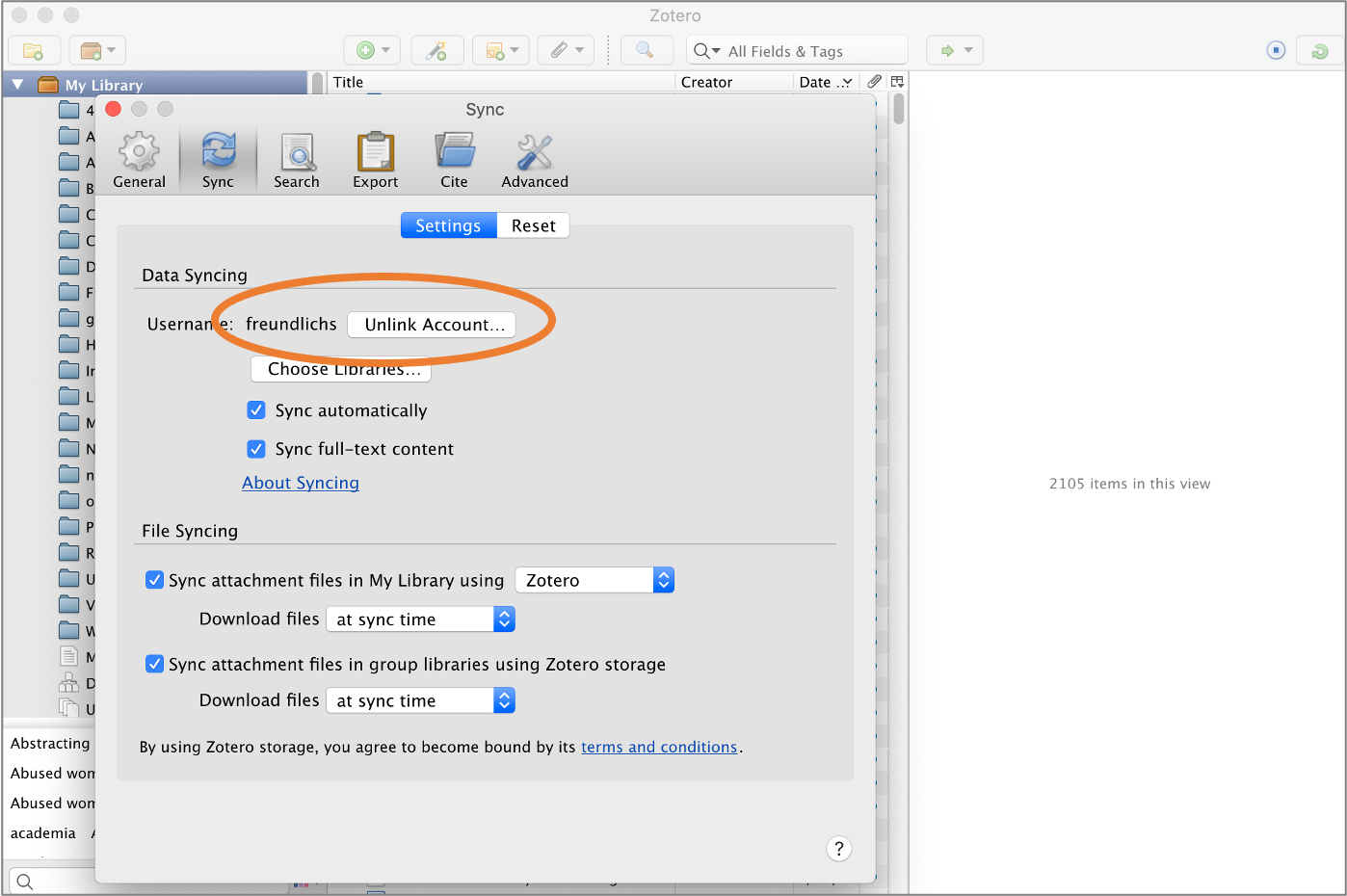 The sync preference settings in the download Zotero library.