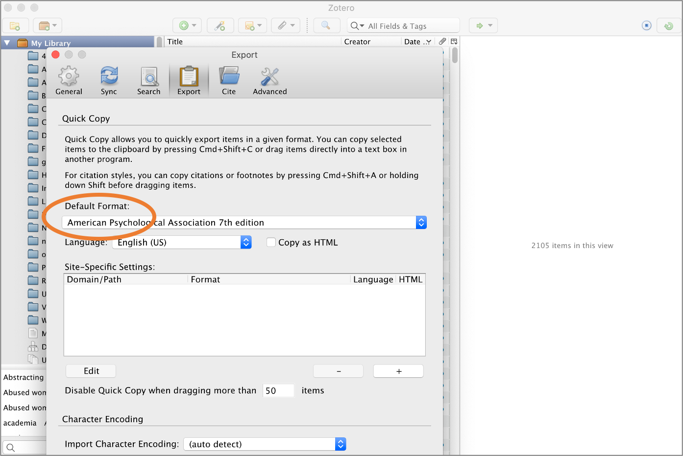 The export preference settings in the download Zotero library.