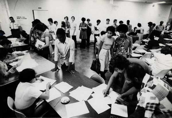 Students registering for courses
