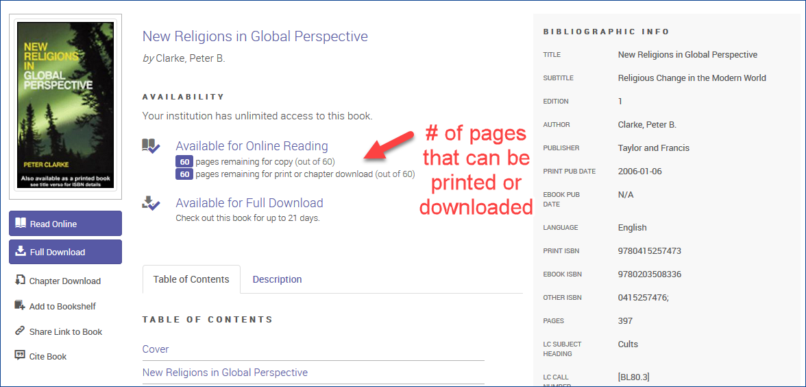 Screenshot of ProQuest Ebook Central showing a download limit of 60 pages for the ebook New Religions in Global Perspective.