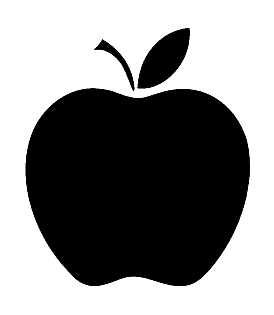 Black and white silhouette of an apple