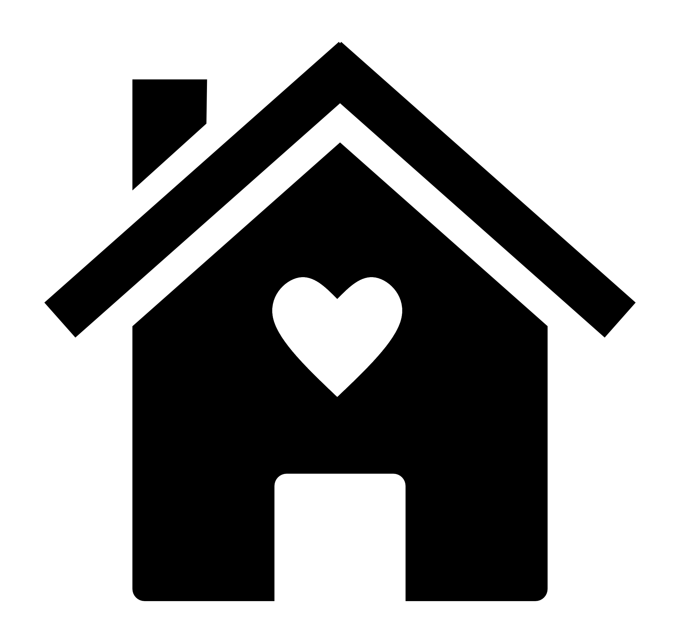 Black and white silhouette of a house with a chimney and a heart in the middle