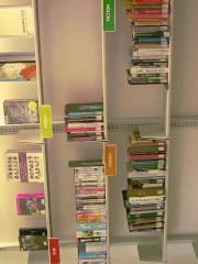 Book shelves full of display books.