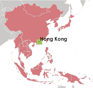 CIA World Fact Book map showing Hong Kong in China