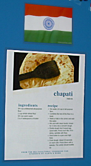 A recipe for chapatis on the outside of the display.