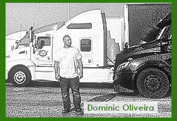 Dominic Oliveira standing next to his rig
