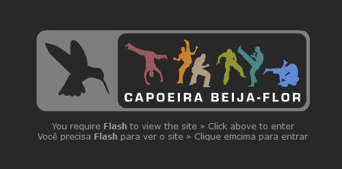 Capoeira Beija-Flor Logo on flash page close up.