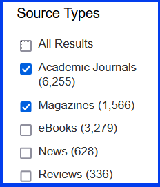 Choosing a source type to narrow results