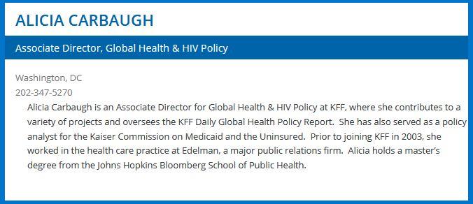 A Kaiser Family Foundation Staff Member's bio