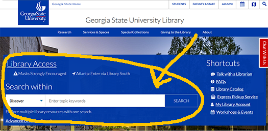 Here is the library home page with the big box