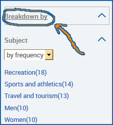 Subjects and Breakdown by categories in the facet boxes on the left side of a Statistical Abstracts page.