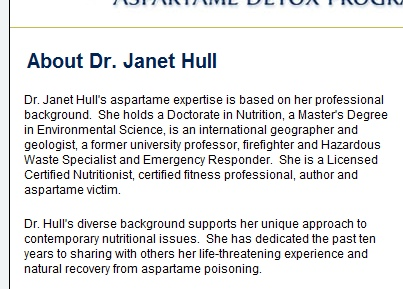 screen shot of Dr. Janet Hull's qualifications