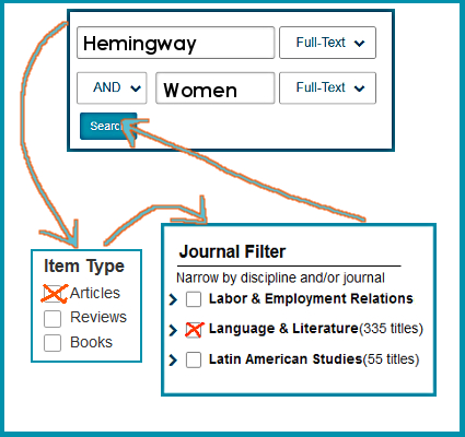 Searching in JSTOR Advanced Search with all those boxes!