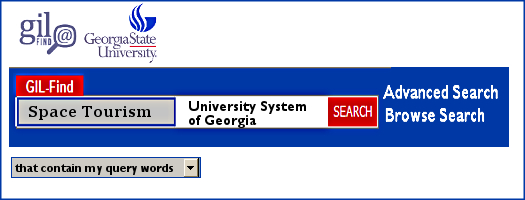 This is what a USG search looks like in GIL-Find