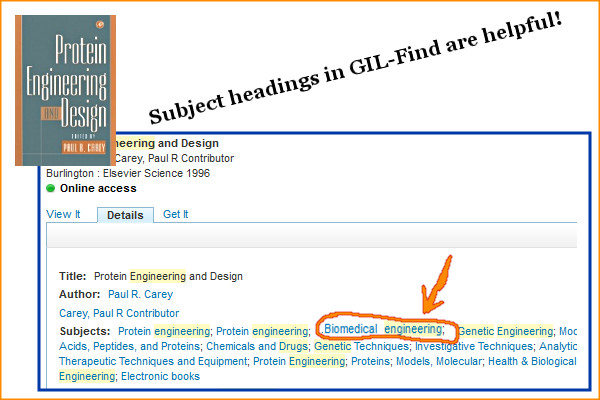 GIL-Find book showing subject headings and more