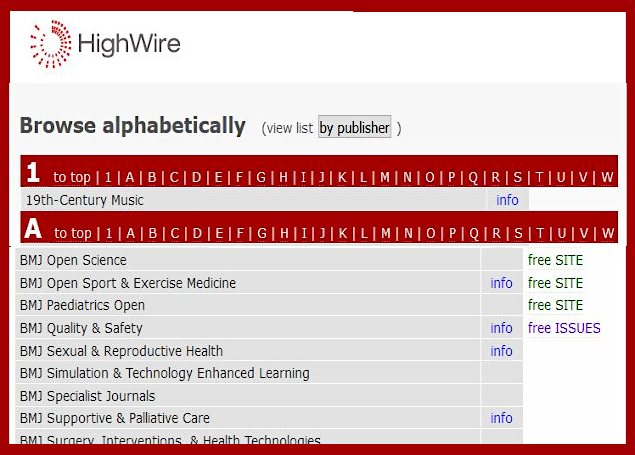a view of Highwire's title browsing list