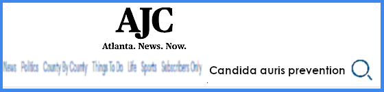 The AJC's search box with a search for Candida auris prevention inside it