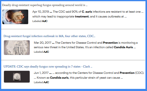 What a list of articles in the AJC online looks like
