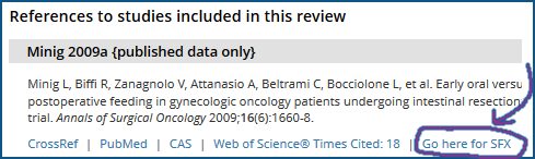 Here is a single reference in Cochrane Library. Notice the text SFX link