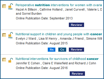 Here are three Cochrane Library articles with their tags