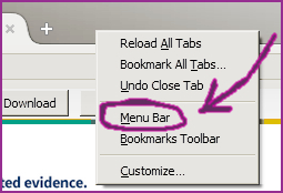 Getting ready to print by turning on the menu bar in FireFox