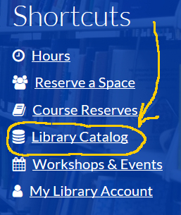 selecting the library catalog