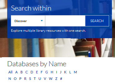 Databases by Name below the big discover box on the library web page