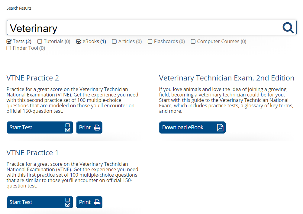 """An example of a search for the word """"Veterinary"""" on the website LearningExpress. Two practice tests and one study guide are displayed."""