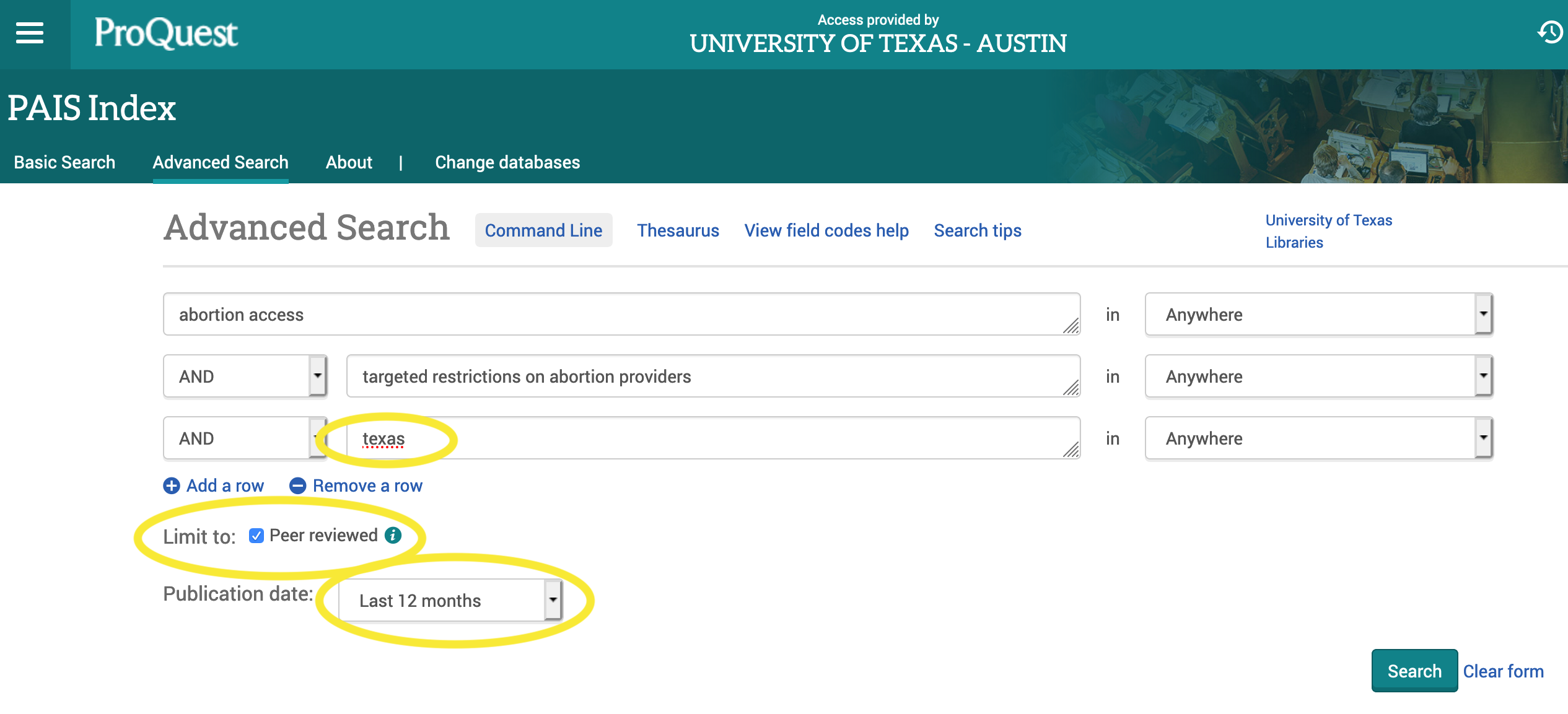 search in pais. abortion access and texas and targeted restrictions on abortion providers limited to last 12 months and to peer reviewed.