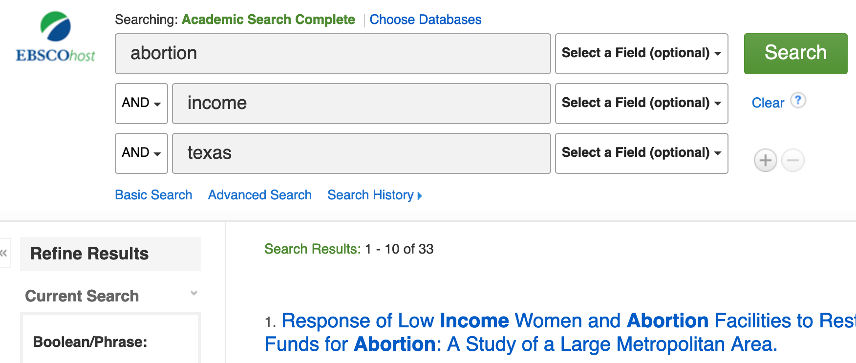 abortion and income and texas in academic search complete