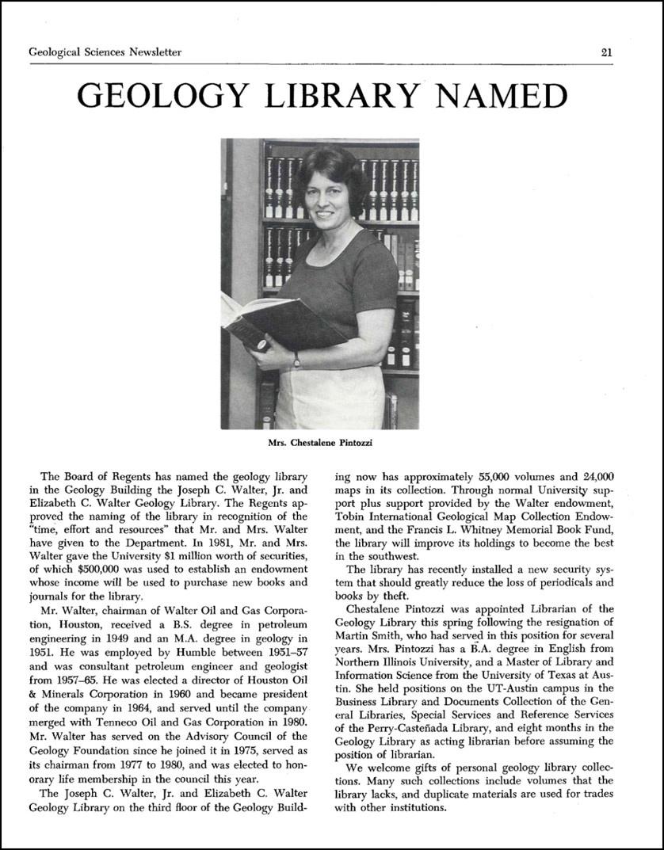 newsletter: geology library named