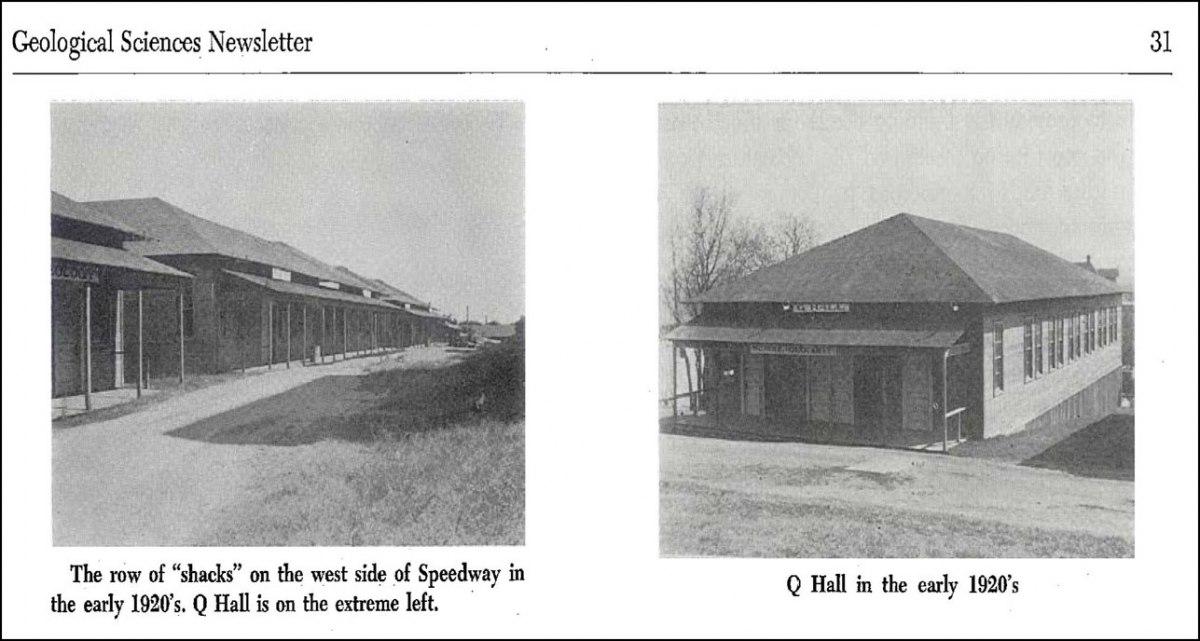 Geology shacks and Q Hall