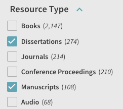 snap of resource type selection
